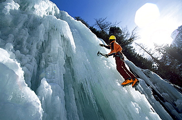 Man ice climbing, Sand in Taufers, South Tyrol, Italy, Europe