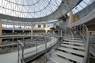 Interior view of the entrance hall of the Deutsche Bank, Kirchberg, Luxembourg city, Luxembourg, Europe