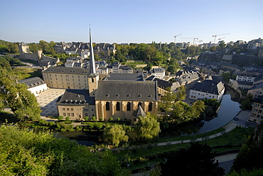 Church at the Old Town under blue sky, Grund district, Luxembourg city, Luxembourg, Europe
