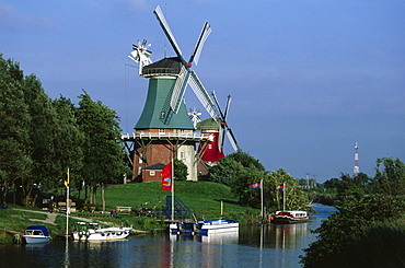 Windmills, Greetsiel, East Frisia, Germany