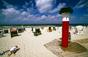 Hooded beach chairs, Wangerooge, North Sea, East Frisia, Germany