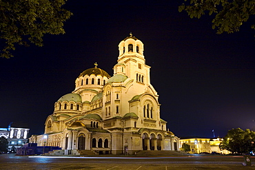 Illuminated Saint Alexander Nevski Cathedral at night, Sofia, Bulgaria, Europe