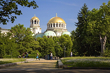 City park in front of Saint Alexander Nevski Cathedral, Sofia, Bulgaria, Europe