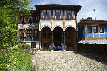 Oslekov house in the sunlight, museum town Koprivstiza, Bulgaria, Europe