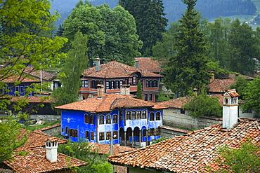 Blue house at museum town Koprivstiza, Bulgaria, Europe