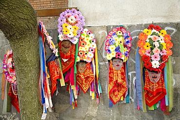 Rose Festival, masks on wall, Karlovo, Bulgaria, Europe