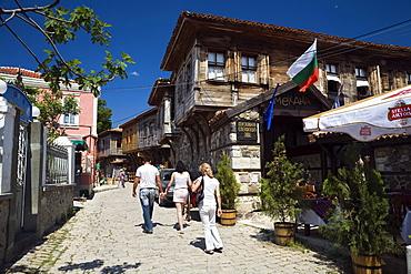 People in an alley at Sosopol, Black Sea, Bulgaria, Europe