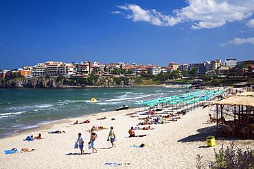 People on the beach, Sosopol, Black Sea, Bulgaria, Europe