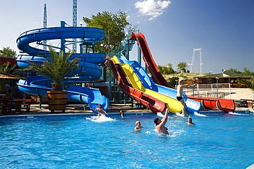 Swimming pool with slide at Sosopol beach, Black Sea, Bulgaria, Europe