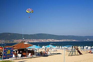 Sosopol Beach in the sunlight, Black Sea, Bulgaria, Europe