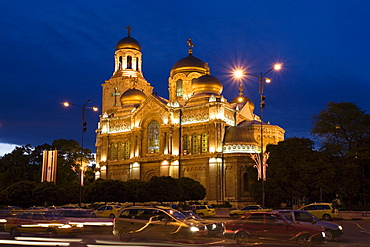 Illuminated Chram Sveta Uspenie Bogorodicno cathedral at Varna, Bulgaria, Europe