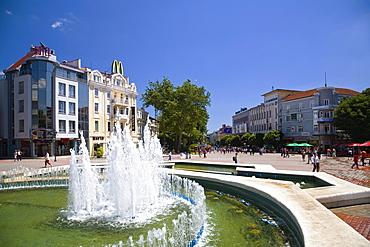 Fountain at pedestrian zone in Varna, Bulgaria, Europe