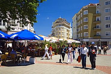 People at pedestrian zone in Varna, Bulgaria, Europe