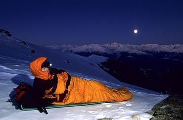 bivouac at Piz Terza at full moon, view to Oetztal range, Sesvenna range, Grisons, Switzerland