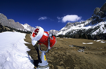 snowguns and artificial snow at Col Reiser, Groednertal, Dolomites, South Tyrol, Italy