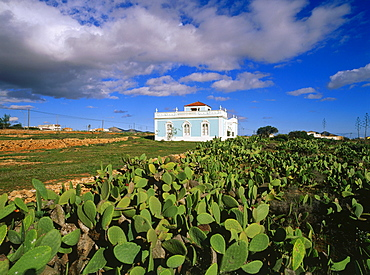 Country house, Art Nouveau, prickly pears, opuntia, Antigua, Fuerteventura, Canary Islands, Spain