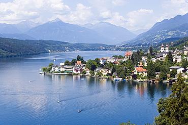 View over Millstatt and Millstaetter See (deepest lake of Carinthia), Millstatt, Carinthia, Austria
