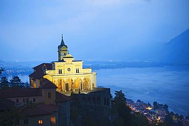 Pilgrimage church Madonna del Sasso, Orselina, lake Lago Maggiore, Ticino, Switzerland