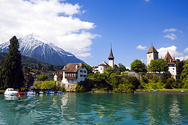 View over Lake Thun to Spiez with castle and castle church, Spiez, Bernese Oberland (highlands), Canton of Bern, Switzerland
