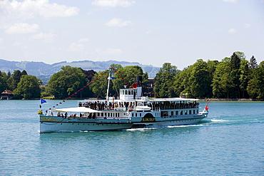 Steamer DS Bluemlisalp, Lake Thun, Bernese Oberland (highlands), Canton of Bern, Switzerland