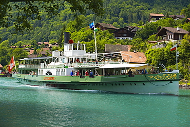 Steamer DS Loetschberg on River Aare on the way to Lake Brienz, Interlaken, Bernese Oberland (highlands), Canton of Bern, Switzerland