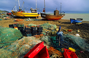 Europe, England, East Sussex, Hastings, fishing boats