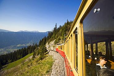 Schynige Platte Railway on the way, Schynige Platte (1967 m), Interlaken, Bernese Oberland (highlands), Canton of Bern, Switzerland