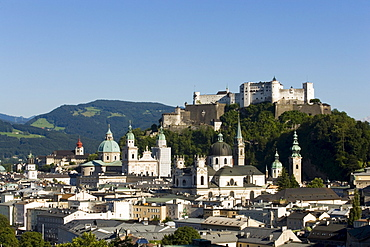 View over Old Town with Hohensalzburg Fortress, largest, fully-preserved fortress in central Europe, Salzburg Cathedral, Franciscan Church, St. Peter's Archabbey and Collegiate Church, built by Johann Bernhard Fischer von Erlach, Salzburg, Salzburg, Austria, Since 1996 historic centre of the city part of the UNESCO World Heritage Site