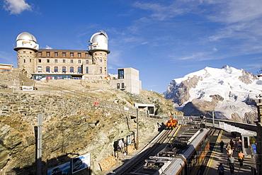View from Gornergrat station to Kulmhotel, the highest hotel in the Swiss Alps (3100 m) at Gornergrat, Zermatt, Valais, Switzerland
