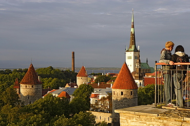 View of old town from Rohukohtu Terrace. The towers of the citywalls in the front, St. Michael Monastery and Olai Church in the background, Tallinn, Estonia