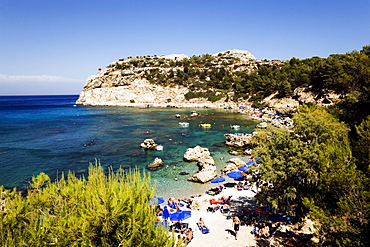 View over beach at Anthony Quinn Bay, film location of the film The Guns of Navarone, Falirakis, Rhodes, Greece