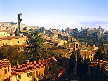 Overview from the castle, Fortezza, Montalcino, Val d'Orcia, Tuscany, Italy