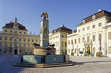 Fountain at the courtyard of the Palace under blue sky, Ludwigsburg, Baden-Wuerttemberg, Germany, Europe
