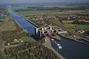 aerial photo of ship's hoist, elevator, Scharnebeck, canal tributary of the river Elbe, Lower Saxony, Germany