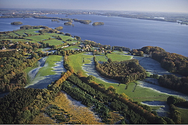 aerial photo of lakes, Holstein Switzerland, Ploener Lake, forest, morning frost, Schleswig Holstein, northern Germany