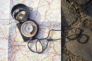 compass and map for orientation, Lower Saxony, Germany