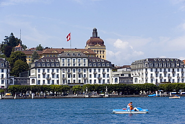 View over Lake Lucerne to Hotel Schweizerhof Luzern, Lucerne, Canton Lucerne, Switzerland