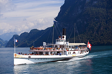 Paddle Wheel Steamer DS Gallia on Lake Lucerne, Buergenstock, Canton of Lucerne, Switzerland