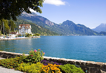 Hotel Central am See at lakeshore of Lake Lucerne, Weggis, Canton of Lucerne, Switzerland
