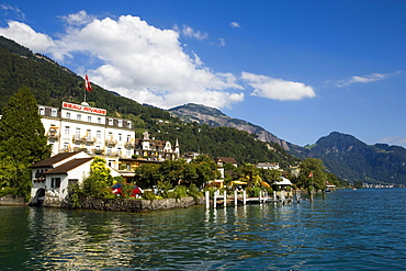 View over Lake Lucerne to Hotel Beau-Rivage, Weggis, Canton of Lucerne, Switzerland