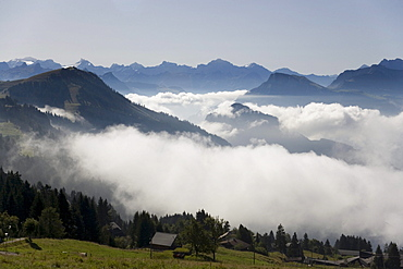 Clouds between mountains, Lake Lucerne, Switzerland