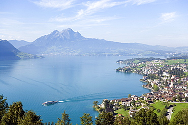 View over Weggis at Lake Lucerne to mountain Pilatus (2132 m) in background, Weggis, Canton of Lucerne, Switzerland