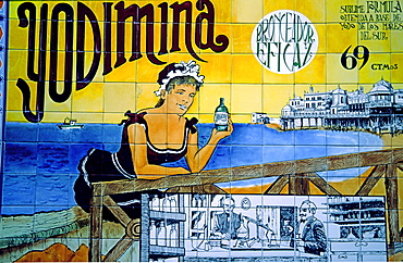 Spain, Cadiz, old fashion advertisment for drugstore, azulejos