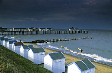 Europe, England, Suffolk, Southwold, East Anglia, bathing cabins and pier