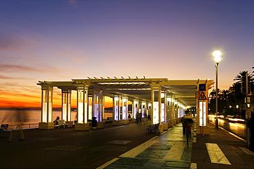 France, Nice, Promena s Anglais, Pavillon, sunset, people