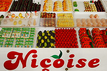 France, Nice, Cours Saleya, market stall with sweets