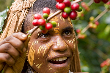 Portrait of a girl on a coffee plantation, Langila, Highlands, Papua New Guinea, Oceania