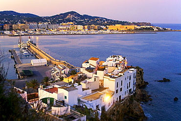 Spain, Baleares island, Ibiza, Dalt vila, sunset