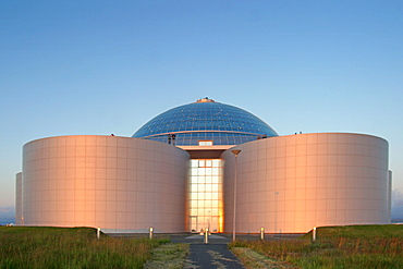 Iceland, Reykjavik, The pearl, Huge hot water tank on a hill