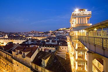 Portugal, Lisbon, Portugal, Lisbon, Portugal, View from Elevator Santa Justa towords Castelo Sao Jorge at twilight